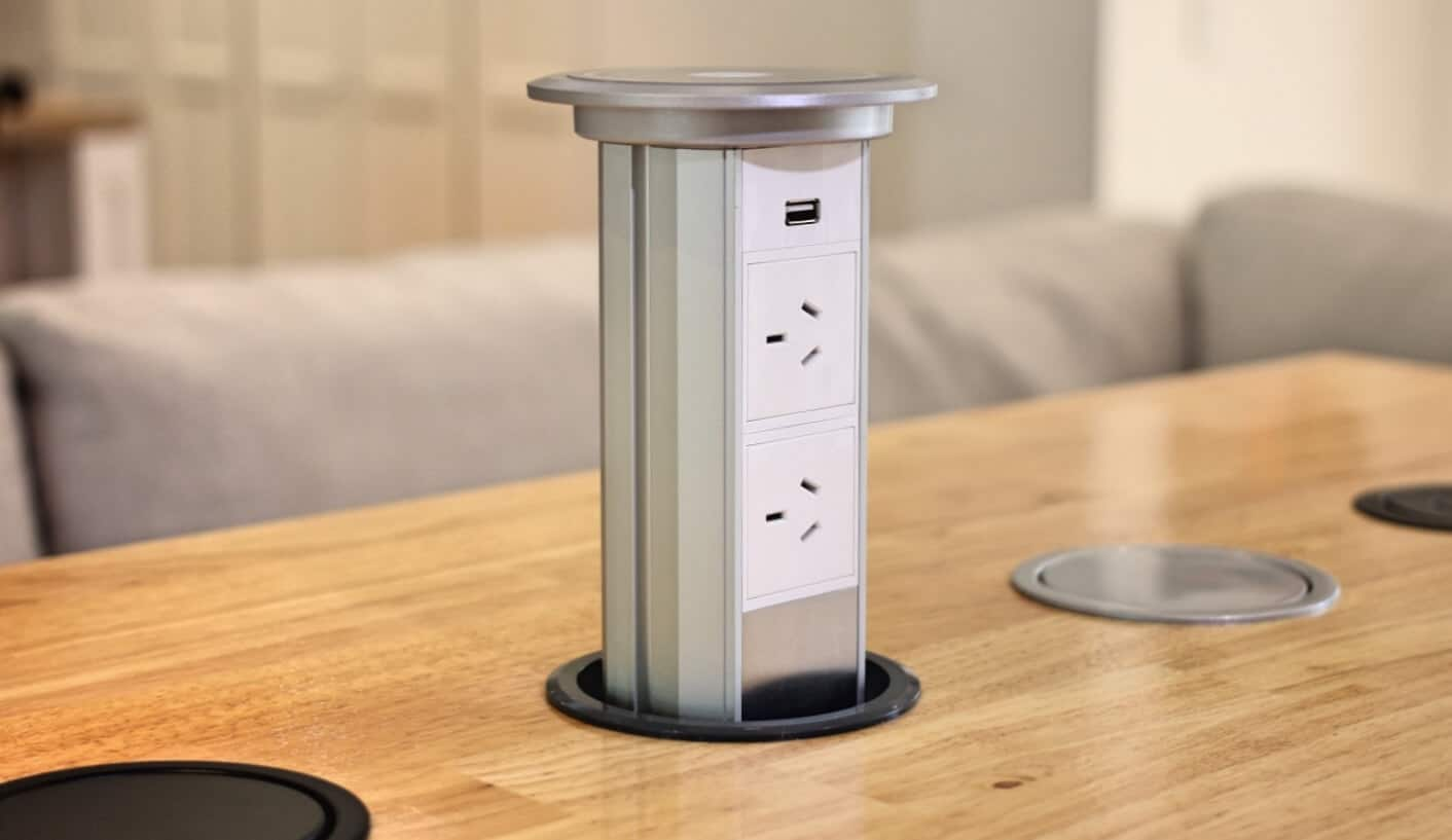 V3m Motorised Automatic Led Pop Up Power Outlet Point Kitchen and Pop Up Electrical Outlet For Kitchen